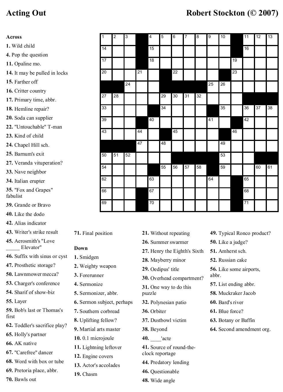 "Beekeeper Crosswords » Blog Archive » Puzzle #24: ""Acting Out"""
