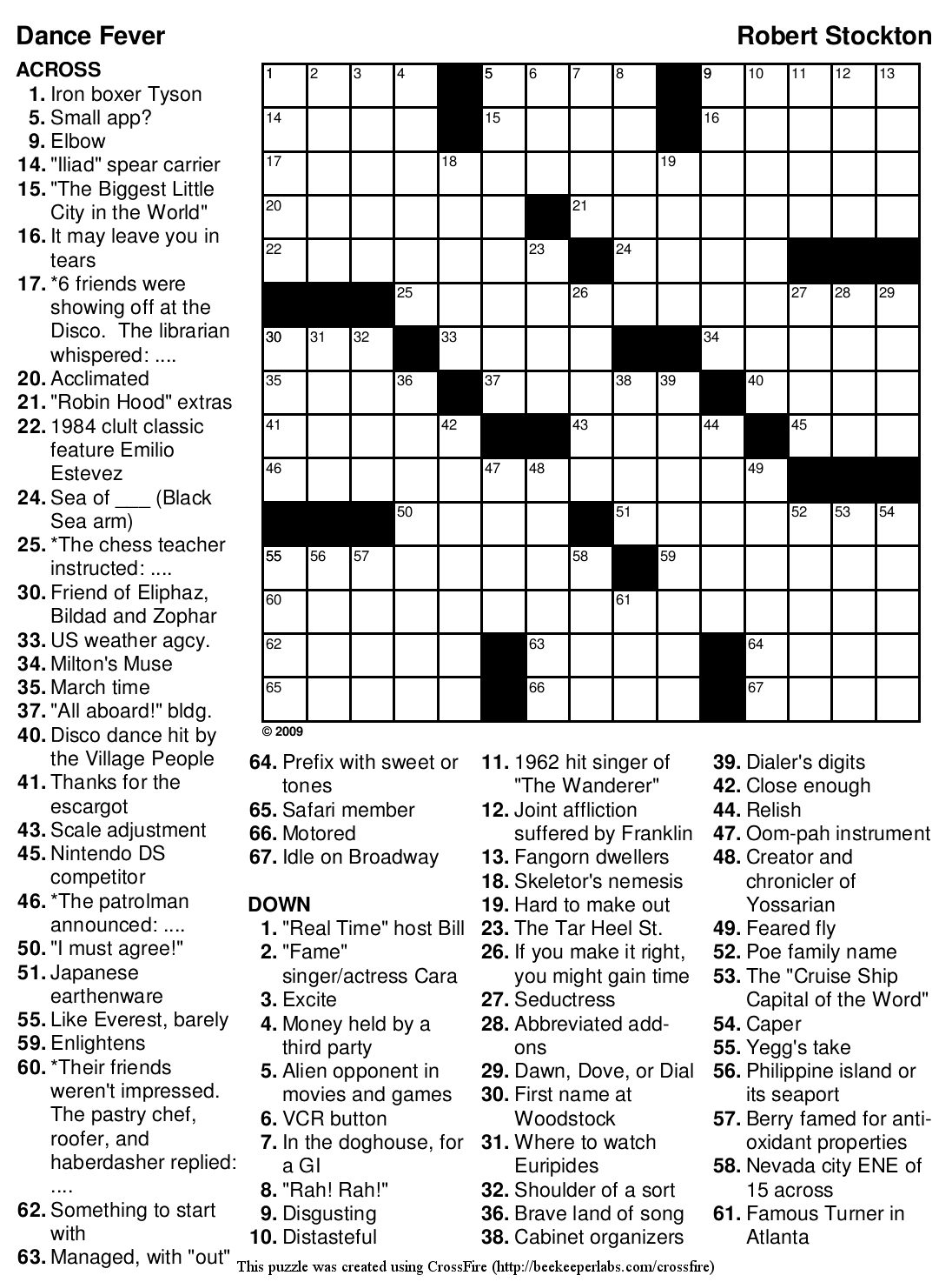 "Beekeeper Crosswords » Blog Archive » Puzzle #136: ""Dance Fever"""