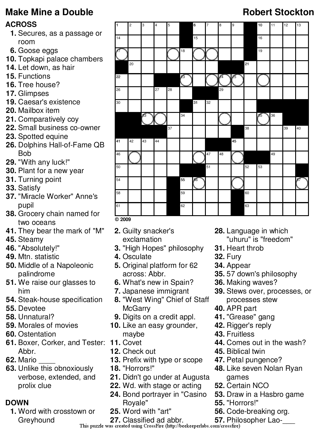 beekeeper crosswords blog archive puzzle 94 u201cmake mine a double