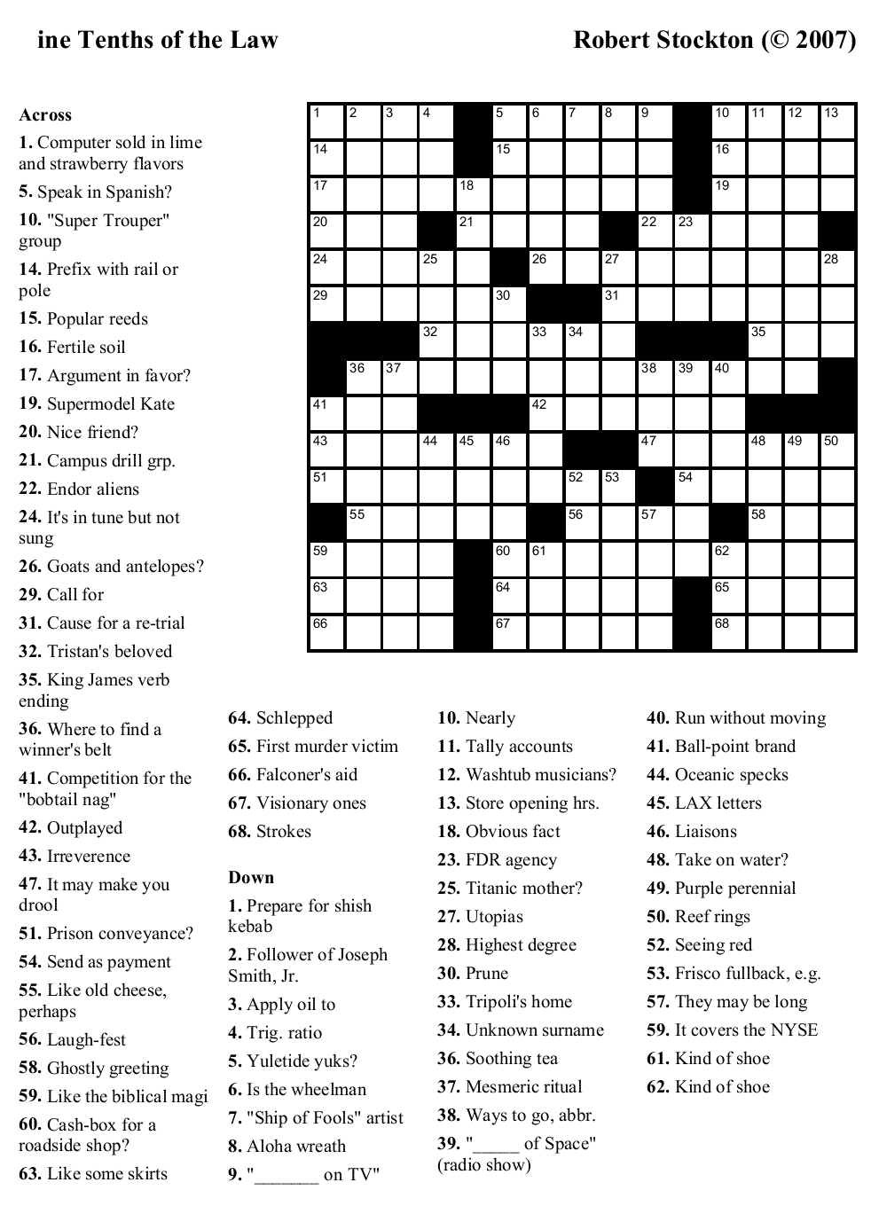 It's just a picture of Challenger Free Crossword Puzzles Printable