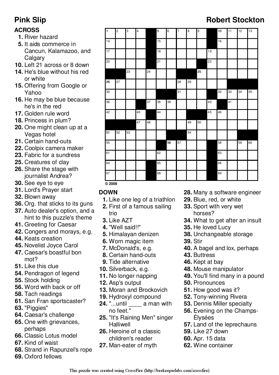 "Beekeeper Crosswords » Blog Archive » Puzzle #93: ""Pink Slip"""