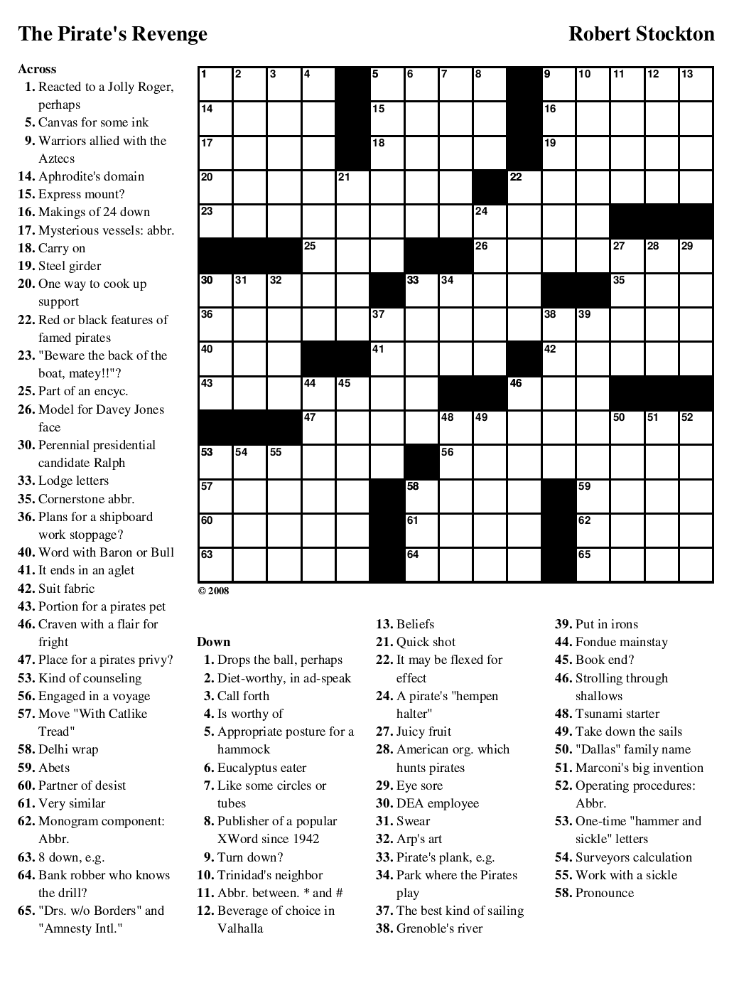 """Beekeeper Crosswords » Blog Archive » Puzzle #63: """"The Pirate's ..."""