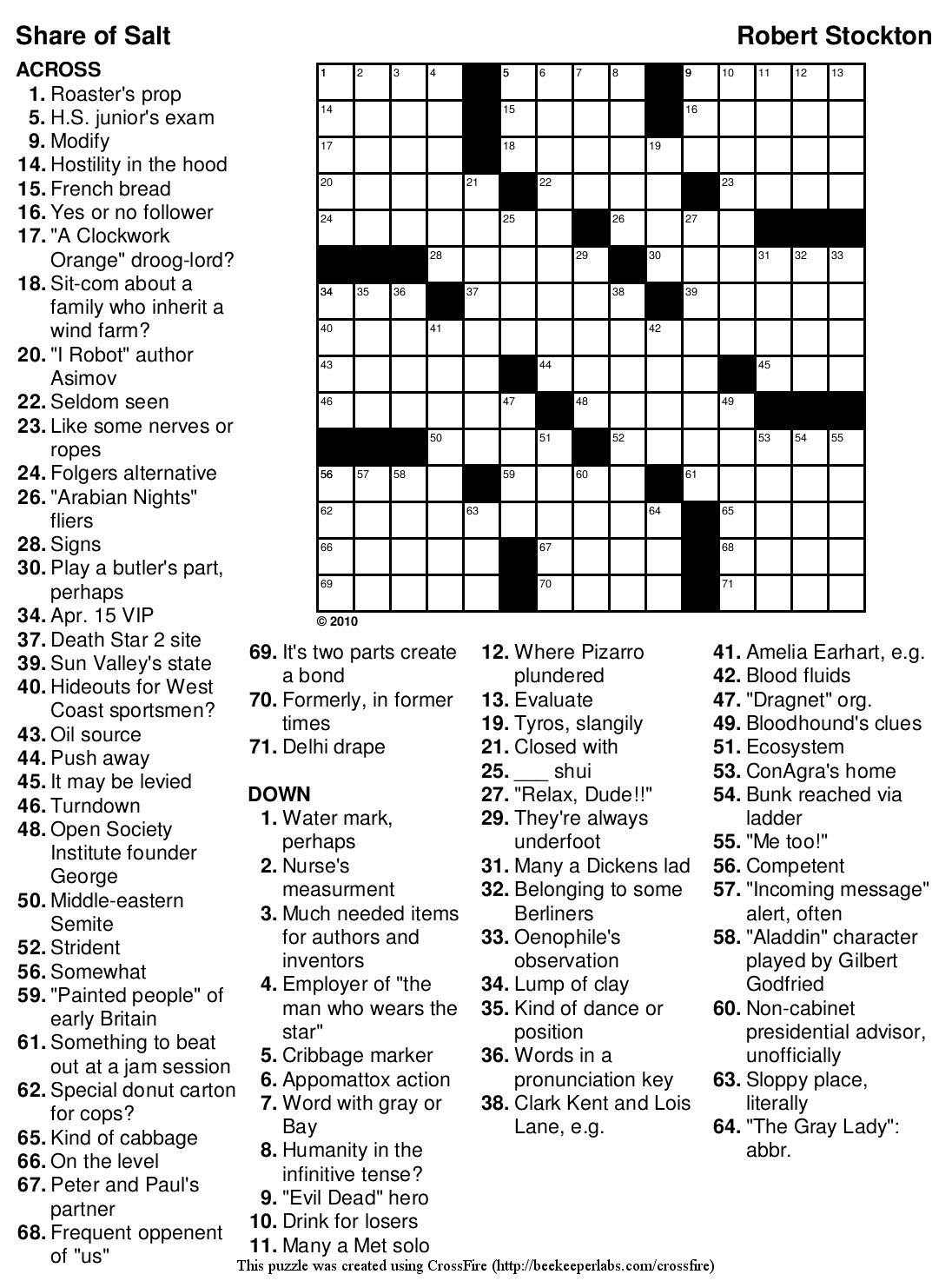 printable crossword puzzels for adults
