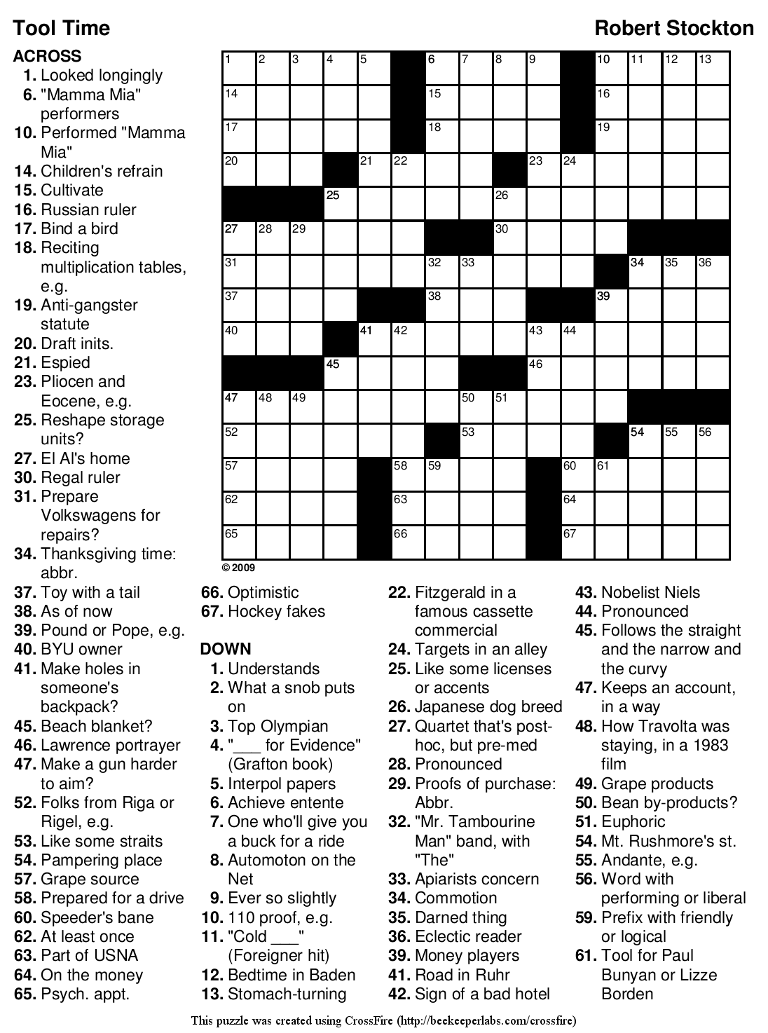 Beekeeper Crosswords 187 Blog Archive 187 Puzzle 85 Tool Time