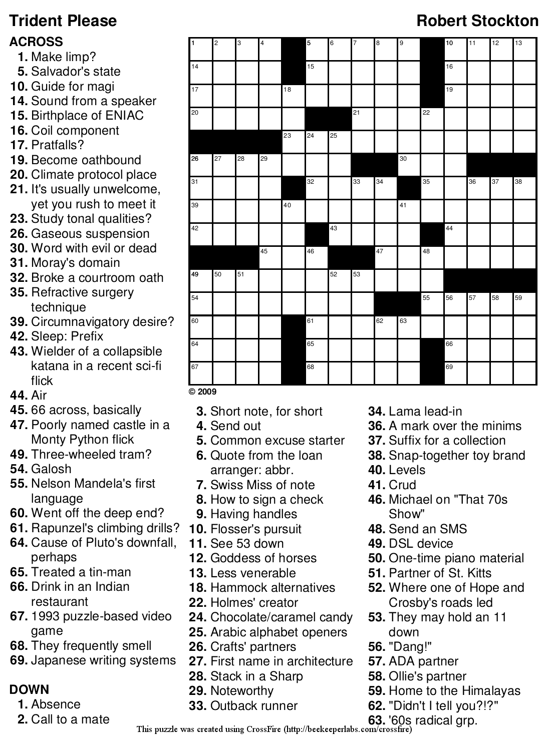"Beekeeper Crosswords » Blog Archive » Puzzle #103: ""Trident Please ..."
